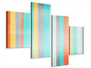 Ljudabsorberande modern 4 delad tavla - Grunge Stripes - SilentSwede