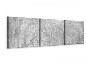 Ljudabsorberande panorama 3 delad tavla - Wipe Technique In Gray - SilentSwede