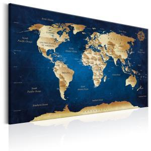 Ljuddämpande & ljudabsorberande tavla - World Map: The Dark Blue Depths - SilentSwede