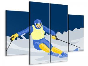 Ljudabsorberande 4 delad tavla - Skier In Retro Style - SilentSwede