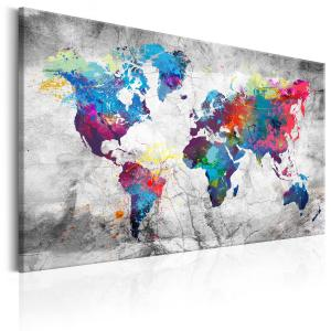 Ljuddämpande & ljudabsorberande tavla - World Map: Grey Style - SilentSwede