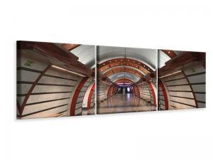 Ljudabsorberande panorama 3 delad tavla - Metro Station - SilentSwede