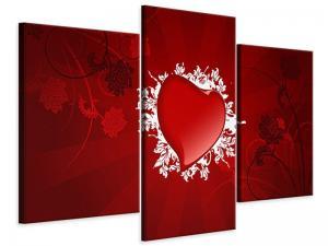 Ljudabsorberande modern 3 delad tavla - Flying Heart - SilentSwede