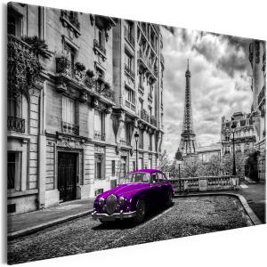 Ljuddämpande & ljudabsorberande tavla - Car in Paris Violet Wide - SilentSwede
