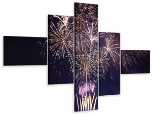 Ljudabsorberande 5 delad tavla-Fireworks - SilentSwede
