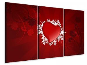 Ljudabsorberande 3 delad tavla - Flying Heart - SilentSwede