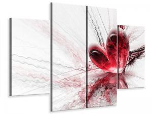 Ljudabsorberande 4 delad tavla - Heart Reflection - SilentSwede