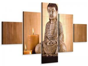Ljudabsorberande 5 delad tavla-Buddha In Meditation - SilentSwede