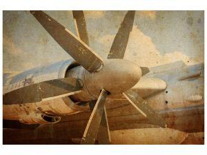 Ljudabsorberande tavla - Propeller Plane In Grunge Style - SilentSwede