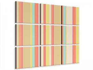 Ljudabsorberande 9 delad tavla - Pastel Stripes - SilentSwede