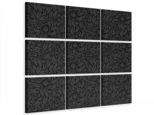 Ljudabsorberande 9 delad tavla-Rococo Pattern - SilentSwede