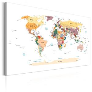 Ljuddämpande & ljudabsorberande tavla - World Map: Travel Around the World - SilentSwede