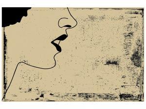 Ljudabsorberande tavla - Woman Portrait In Grunge Style - SilentSwede