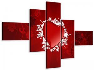Ljudabsorberande modern 5 delad tavla - Flying Heart - SilentSwede