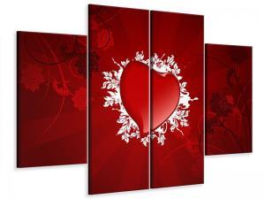 Ljudabsorberande 4 delad tavla - Flying Heart - SilentSwede