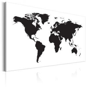 Ljuddämpande & ljudabsorberande tavla - World Map: Black & White Elegance - SilentSwede