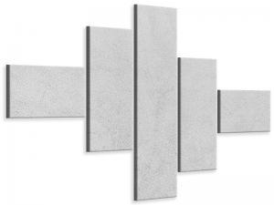 Ljudabsorberande modern 5 delad tavla - Concrete In Light Gray - SilentSwede