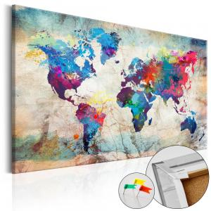 Ljuddämpande anslagstavla - World Map: Colourful Madness - SilentSwede
