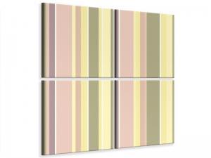 Ljudabsorberande 4 delad tavla - Vertical Stripes - SilentSwede