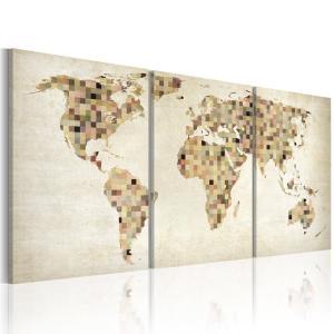 Ljuddämpande tavla - Världskartan - rutor - SilentSwede