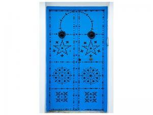 Ljudabsorberande tavla - Blue Wooden Door - SilentSwede