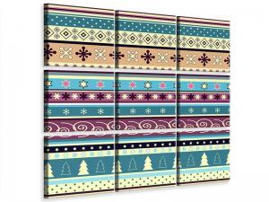 Ljudabsorberande 9 delad tavla - Playful Stripes - SilentSwede