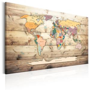 Ljuddämpande & ljudabsorberande tavla - World Map: Colourful Continents - SilentSwede