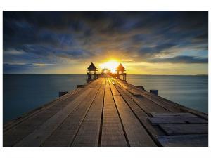 Ljudabsorberande tavla - Sunset At The Wooden Bridge - SilentSwede