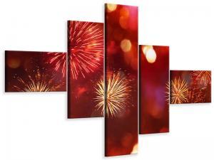Ljudabsorberande 5 delad tavla-Colorful Fireworks - SilentSwede