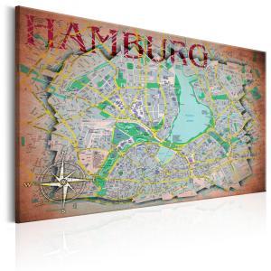 Ljuddämpande & ljudabsorberande tavla - Map of Hamburg - SilentSwede