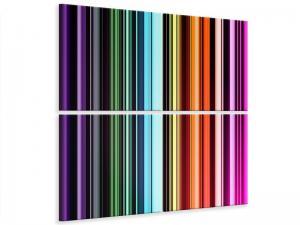 Ljudabsorberande 4 delad tavla - Colorful Stripes - SilentSwede