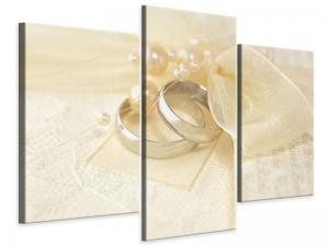 Ljudabsorberande modern 3 delad tavla - Wedding Rings - SilentSwede