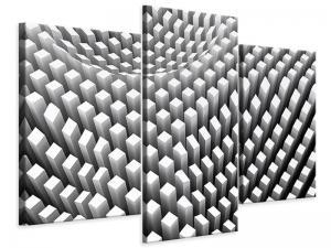 Ljudabsorberande 3 delad tavla-3D Raster Design - SilentSwede