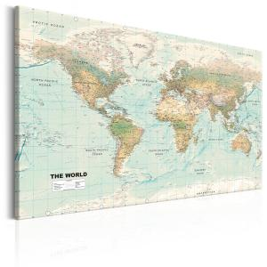 Ljuddämpande & ljudabsorberande tavla - World Map: Beautiful World - SilentSwede