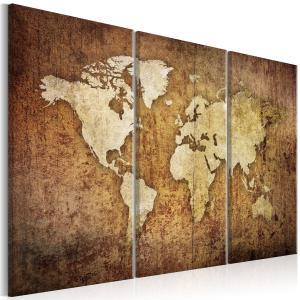 Ljuddämpande tavla - World Map: Brown Texture - SilentSwede