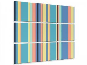 Ljudabsorberande 9 delad tavla - Vertical Stripes In Pastel - SilentSwede