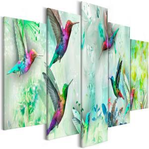 Ljuddämpande tavla - Colourful Hummingbirds Green - SilentSwede