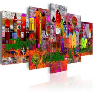 Ljuddämpande tavla - Colourful Small Town - SilentSwede