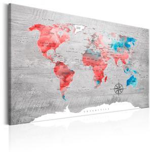 Ljuddämpande tavla - World Map: Red Roam - SilentSwede