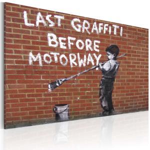 Ljuddämpande tavla - Last graffiti before motorway - SilentSwede
