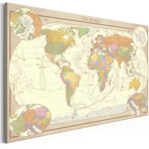 Ljuddämpande & ljudabsorberande tavla - Cream World Map - SilentSwede
