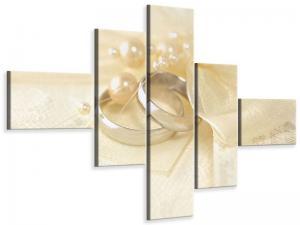 Ljudabsorberande modern 5 delad tavla - Wedding Rings - SilentSwede