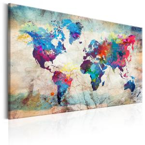 Ljuddämpande & ljudabsorberande tavla - World Map: Colourful Madness - SilentSwede