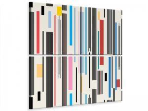 Ljudabsorberande 4 delad tavla - Graphic Stripes - SilentSwede