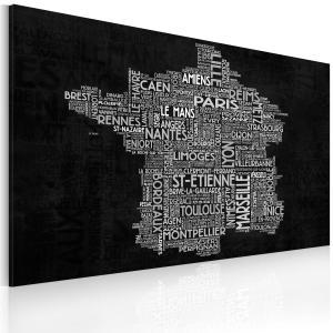 Ljuddämpande & ljudabsorberande tavla - Text map of France on the blackboard - SilentSwede