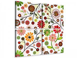 Ljudabsorberande 4 delad tavla - Retro Style Floral - SilentSwede