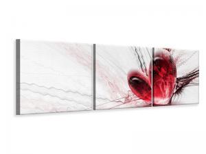 Ljudabsorberande panorama 3 delad tavla - Heart Reflection - SilentSwede