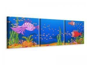 Ljudabsorberande panorama 3 delad tavla - Treasure Underwater - SilentSwede