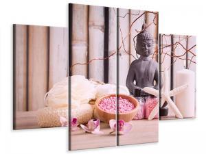 Ljudabsorberande 4 delad tavla-Spa & Buddha - SilentSwede