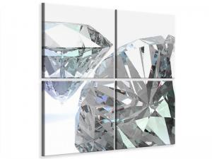 Ljudabsorberande 4 delad tavla - XXL Diamond - SilentSwede